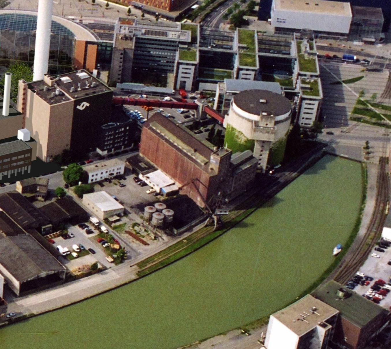 Hinter Flechtheim- und Rhenusspeicher wurde die Kohle ins Kraftwerk transportiert.