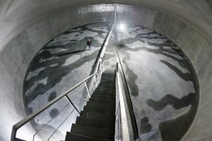 5 Millionen Liter Wasser passen in diesen Trinkwasserbehälter am Wasserwerk Hornheide
