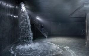 Der 2500m³ Wasserspeicher wird befüllt; Foto: Peter Leßmann